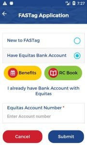 Equitas Bank FasTag Online Application , Required Documents , Online Recharge