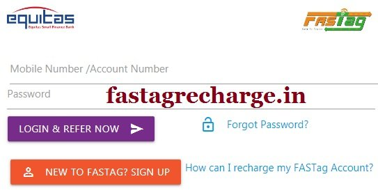How To Recharge Equitas Fastag